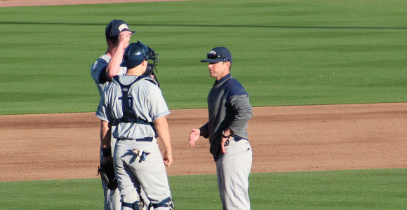 talking with coach on the mound can be as serious as making a verbal commitment in recruiting